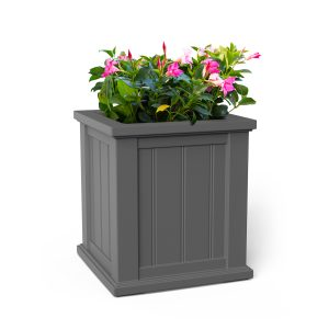Cape Cod 16x16 planter in graphite grey with flowers