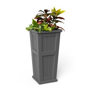 Cape Cod 32 inch Tall Planter in graphite grey with plants